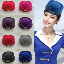Autumn Winter Airline Stewardess Cap Imitation Wool Uniform Plane Stewardess Cap Cosplay Stage Perform Women Ladies Cap