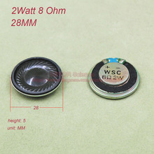 (20pcs/lot) mini speaker 2W 8 Ohms 8R 8Ohm Speakers diameter 28MM thickness 6MM small horn