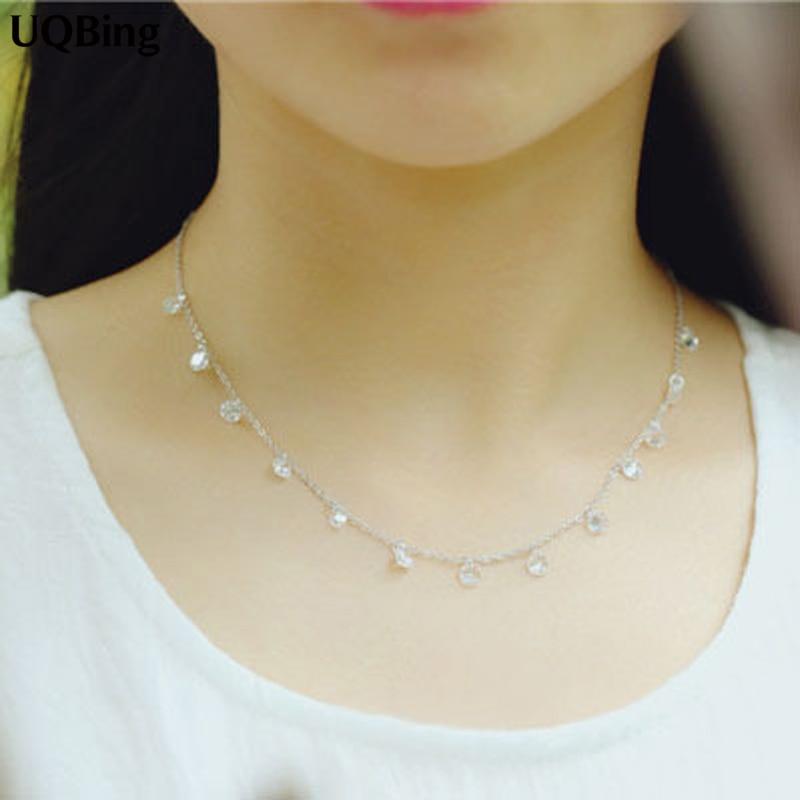Korea moda 925 srebrne kryształowe koraliki naszyjniki 925 srebrne naszyjniki i wisiorki biżuteria kołnierz kołnierz darmowa wysyłka