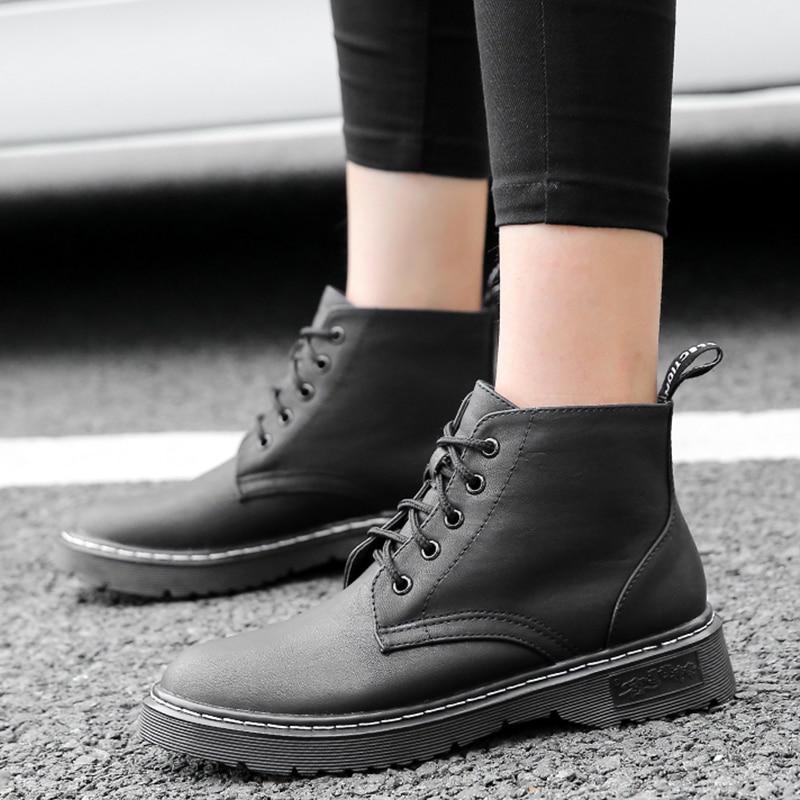 Femme Femmes Mujer plush Chaussures Leather Cuir Verni Leather En La Chaud Peluche Bottes Martins Botas Cheville Dr Noir Mode Taille Black D'hiver Patent plush noir 2018 Plus wPkiulOTZX
