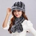 Knitting Rex rabbit hair thickening version Flower shape Scarf Natural Stripe Rex Rabbit Fur canopies fur hat Set #T9004