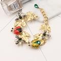 2016 new Baroque gem exaggerated bracelet jewelry fashion retro dragonfly ladybug crystal water drop bracelet 1249