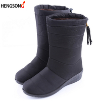 New Winter Women Boots Mid Calf Down Boots Female Waterproof Ladies Snow Boots Girls Winter Shoes