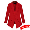 Elegant  Ladies Plus Size Red Blazer 4Xl 5Xl Uniform Styles For Work Big Size Office Lady Suit Oversized Womens Blazers Jackets