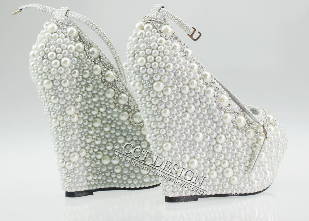 f5a5d4ac4 Women White Black Ivory Pearl Rhinestone Wedges 14cm Peep Toe Wedding  Bridal High Heels Ankle Strap Pumps Shoes Free Shipping-in Women s Pumps  from Shoes on ...