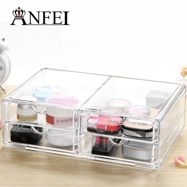 Home Storage Container 4 Drawers Acrylic Makeup Organizer Lipstick Nail  Polish Clear Plastic Cosmetic Storage Box