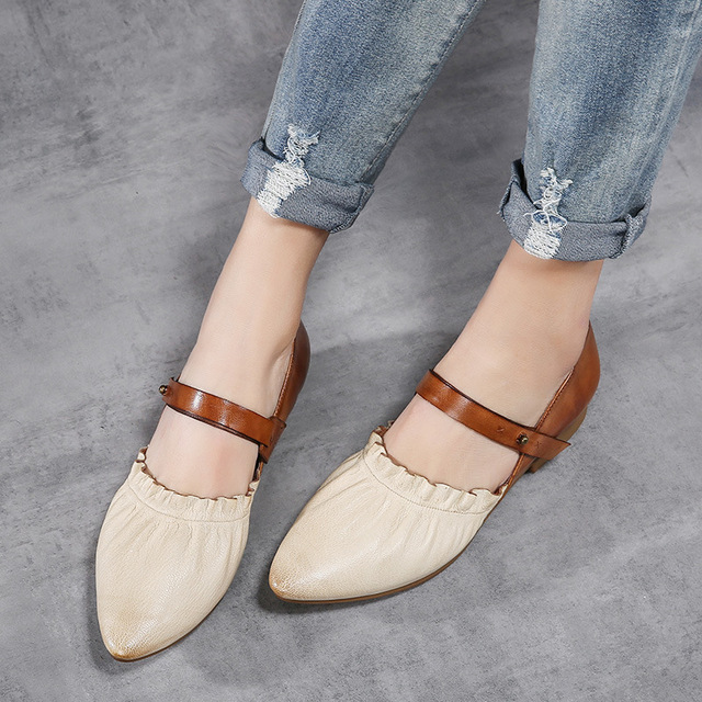 c24a967799e Tyawkiho Women Leather Pumps Pointed Toe Low Heel Shoes Spring 2018 Glove Shoes  Retro Handmade Genuine