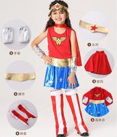 2017 New Halloween Superman Wonder Woman Children Party Cosplay Costumes Gift For Girls Clothes Children S
