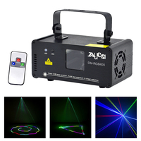 Mini Remote Control 400mW Red Green Blue Laser Lights 8 CH DMX Beam Projector Lamp DJ Disco Party Home Show Stage Lighting DM F