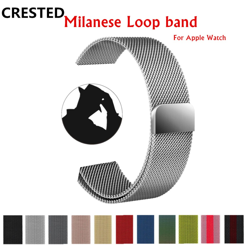 CRESTED Milanese Loop For Apple Watch band strap 42mm/38mm iwatch 3 2 1 Link Bracelet Stainless Steel Bracelet wrist watchband crested nylon band strap for apple watch band 3 42mm 38mm survival rope wrist bracelet watch strap for apple iwatch 3 2 1 black