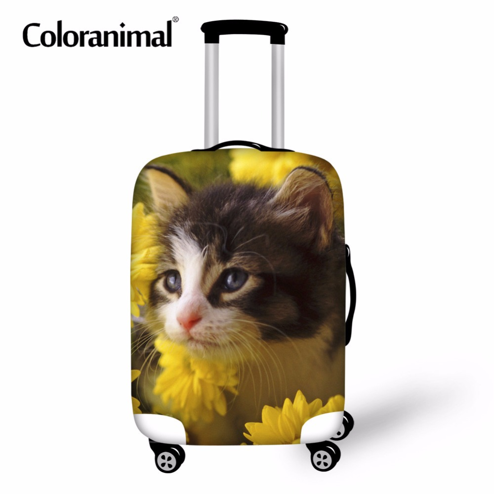 Coloranimal Dustproof Elastic Suitcase Covers Suit for 18-30 Inch Cute Cat floral Print Luggage Protect Cover Travel Accessories