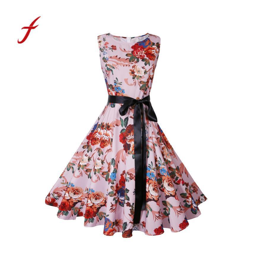 2018 Summer Women Vintage Printing Bodycon Sleeveless Halter Evening Party Dress vestidos femininos