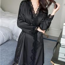 1620 женский атласный Шелковый кружевной халат, женский кружевной халат, женские халаты, одежда для сна, женский сексуальный халат для женщин, Прямая поставка