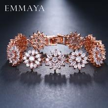 ФОТО emmaya  new flower bracelet micro paved shining tiny cz crystal charming link chain for women wedding party jewelry