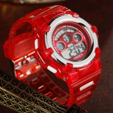 2017 OHSEN Fashion LCD Electronic Digital Silicone Strap Child Kids Watches Casu