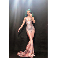 Модные блестящие большие кристаллы платье длинным шлейфом Для женщин на день рождения Костюм Пром праздновать телесного цвета большой хво