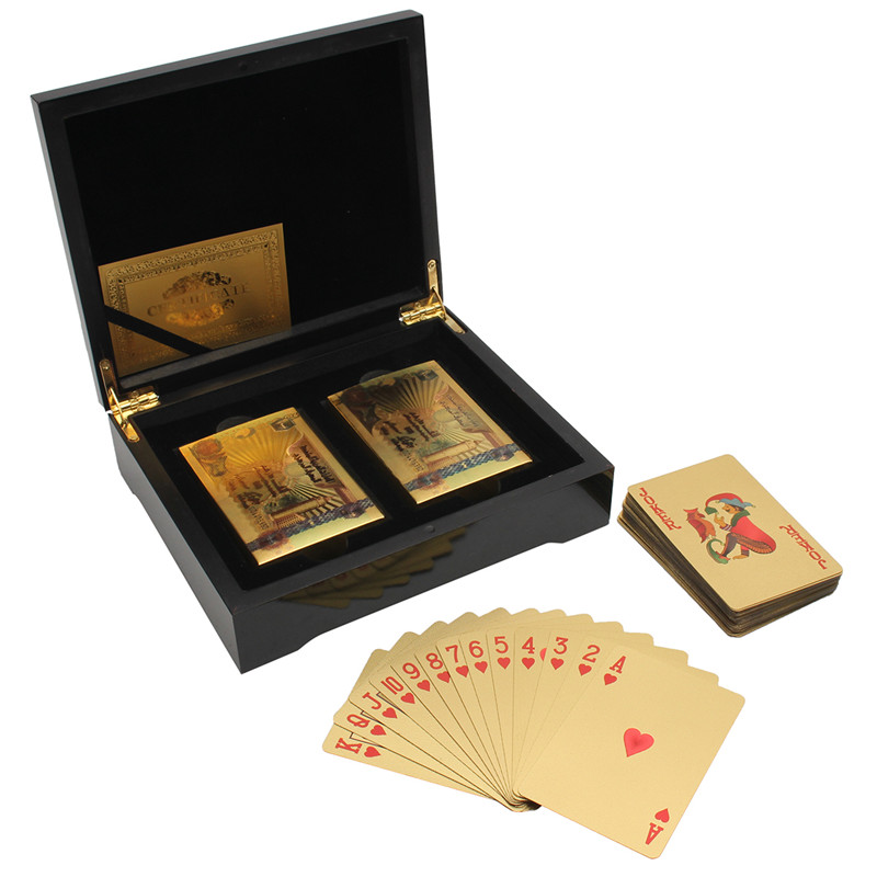 Hot 24k Gold Foil Palying Cards Set 2 Deck 54 Cards Incl 2 Jokers With Certificate In Wooden Box Gambling Party Club Board Games