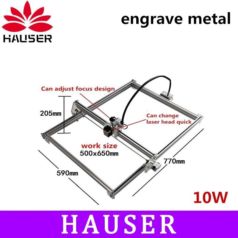 Grande puissance 10 w laser métal graveur machine, 50*65 cm, module laser, laser cutter, co2 laser carve machine, le cnce logiciels