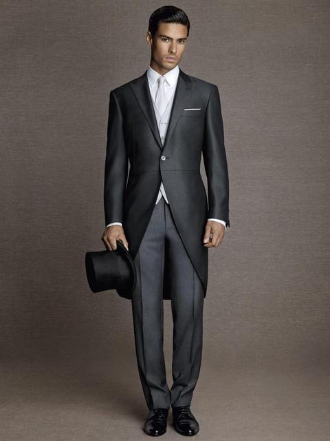 Заказ 2016 жених смокинги пик нагрудные мужской костюм утро стиль дружки свадьба / пром костюмы ( куртка + брюки + галстук + жилет )