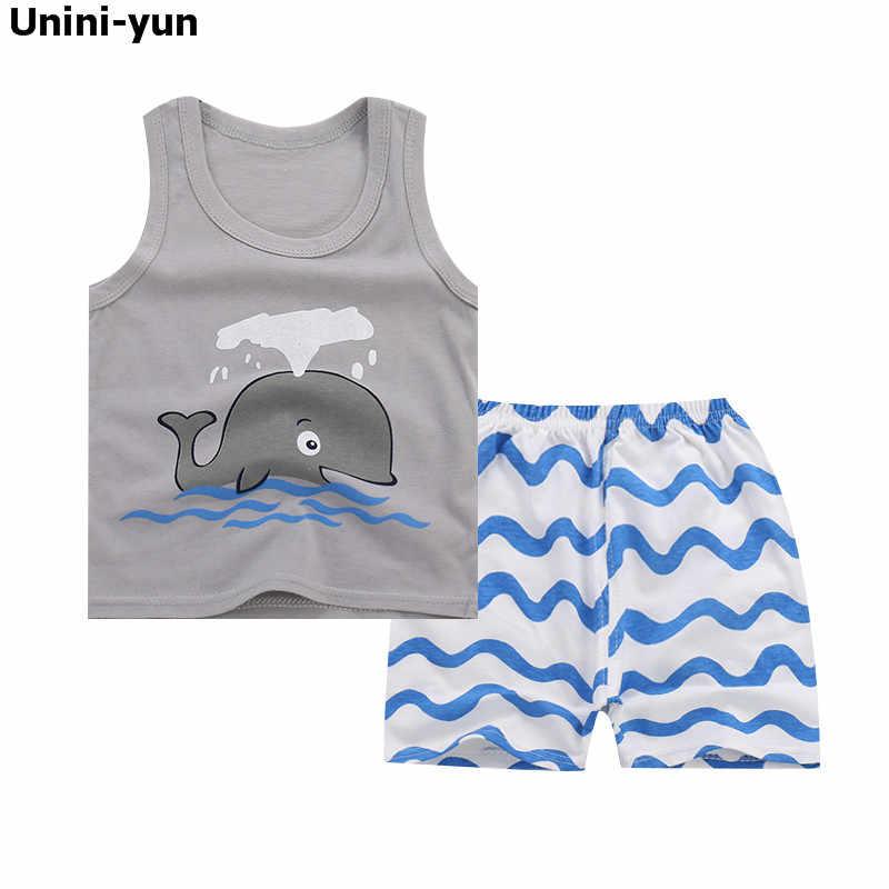 Ropa para niños 2017 conjuntos de ropa para niñas de marca ropa para niños peces de dibujos animados ropa para niños pequeños camisetas + falda 9 M-5 T chándales