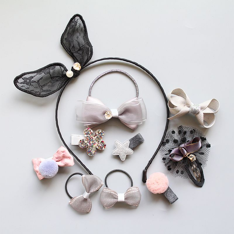 10PCS Girl hair accessories set gray pink lace bunny ear hair band crown hair clip Bow hair ties star elastic rubber band T32 halloween party zombie skull skeleton hand bone claw hairpin punk hair clip for women girl hair accessories headwear 1 pcs