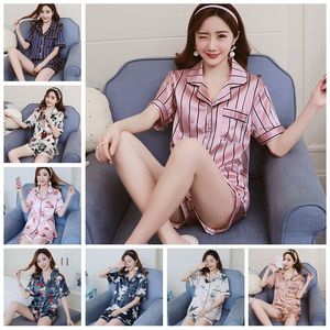 Image 3 - פס פרחוני הדפסת שרוול קצר למעלה ומכנסיים קצרים פיג נשים סאטן משי סטי פיג מה חמוד Cartoon הלבשת נשים Homewear