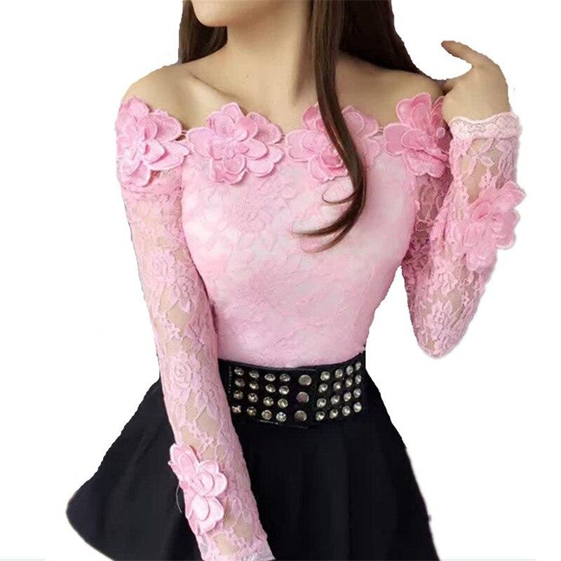 2018 New Autumn Long Sleeve Mesh Blouse Women Sweet Floral Lace Shirt Femal Ladies Slim Slash Neck Blouse Blusas Short Tops A966