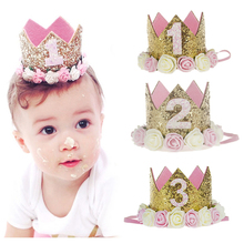 1pcs First Birthday Crown Headband for Kids Party Gold Glitter Birthday Crown Headwear Hiar Band Accessories Baby Shower Decors