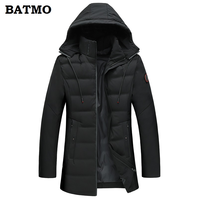 BATMO 2018 new arrival winter high quality thiked warm 90% white duck   down   hooded jackets men,Hat Detachabl   coat   men 1806