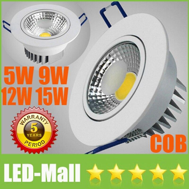 Розничная CREE 5 Вт 9 Вт 12 Вт 15 Вт УДАРА светодиодный светильники + Питание 110 В 240 В поворотный светильник Встраиваемые потолка вниз огней лампы ...