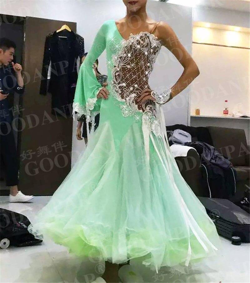 GOODANPAR femmes un bras manches Standard Robes de Concours De Danse avec body soutien-gorge tasses Soie Lycra Tango Watlz Robe