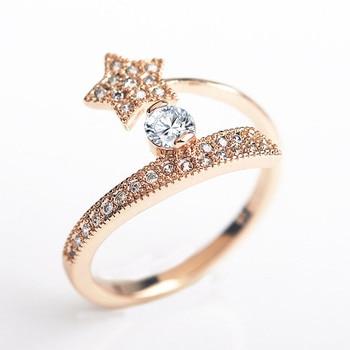 323d966bea0d USTAR Star Austria Zircon cristales anillos de boda para mujer joyería Rosa  oro color abierto Anillos De Compromiso femenino de alta calidad