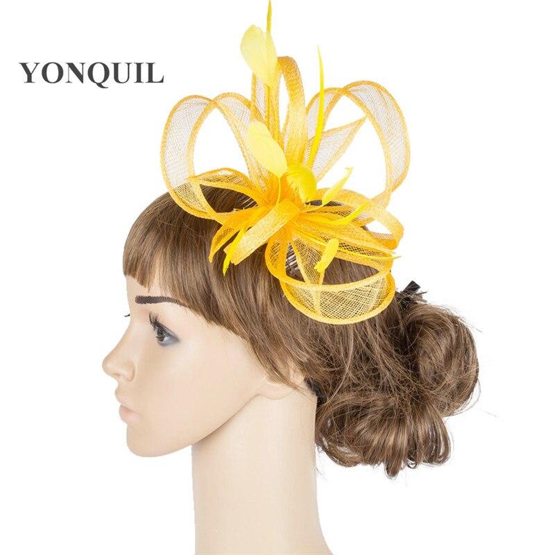 Желтая Свадебная расческа для волос sinamay, аксессуары для волос, Популярные головные уборы для женщин, вечерние головные уборы - Цвет: Цвет: желтый