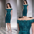 2017 Custom Made Teal Off the Shoulder With Short Sleeves Formal Lace Party Evening Dresses LA060202