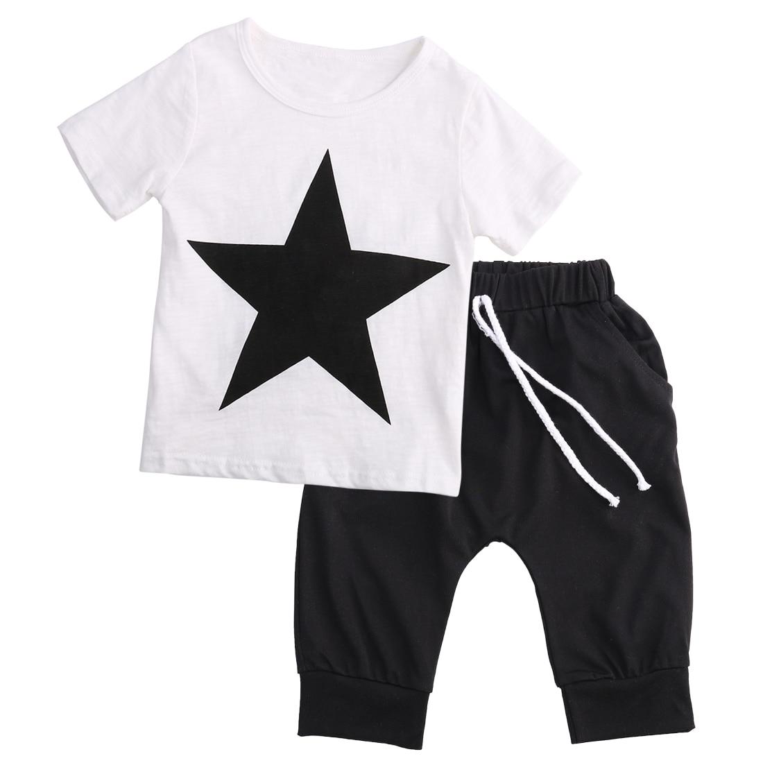 Baby Boy Clothes Set Hot Sales Brief Star Print Fashion T-shirt Top Harem Outfit Set 2-7T 2pcs set baby clothes set boy