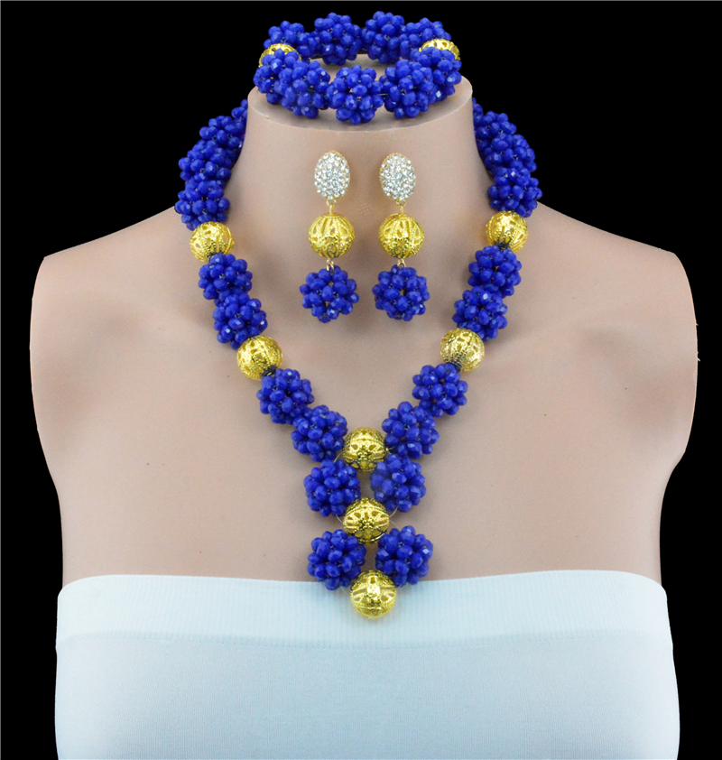 2016 New Wholesale Fashion Women Jewelry Set Fuchsia Blue Wedding Party Jewelry Sets NigerianJewelry Sets Free Shipping