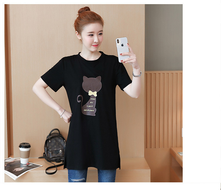 2018 Large size Women T-shirt dress summer Short sleeve Cats print Top Tees Casual O-neck Loose Female Tshirt Plus size 5XL J215 18