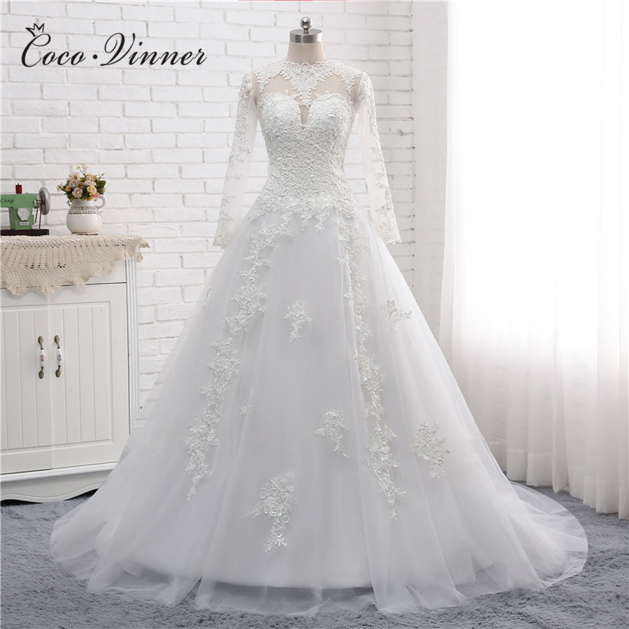 High Neck Arab White A Line Wedding Dresses Long Sleeve Court Train Illusion Back Beading Embroidery Wedding Dress W0136