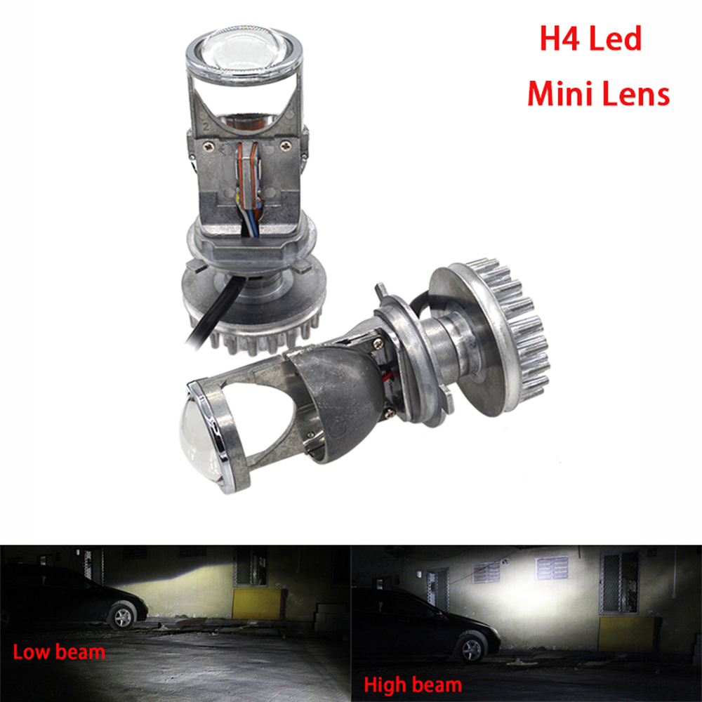 H4 Led Headlight Bulbs with Mini Projector Lens High Low Beam 25W 4000Lm Fanless Led Headlight Conversion Kit for Car Auto Motor