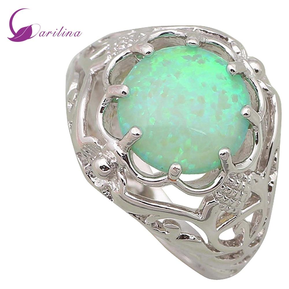Finom ékszer női gyűrű Kerek zöld Opal 925 Ezüsttel töltött - Divatékszer