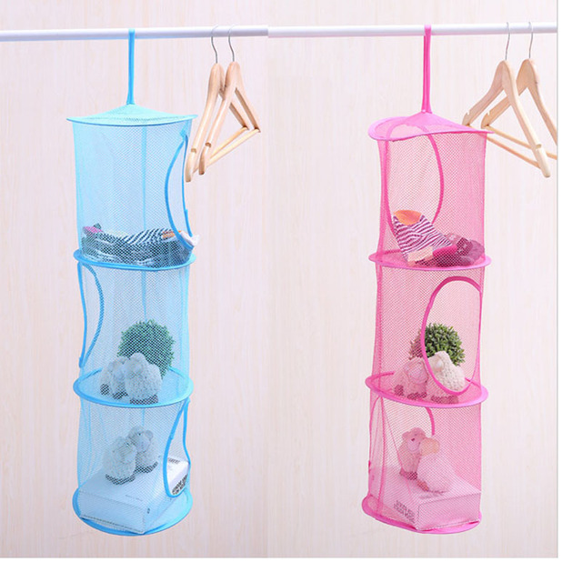 dd540125d91 3 Shelf Mesh Hanging Storage Basket Net Organizer Bag Bedroom Door Wall  Closet Organizers Toy Basket Foldable Nest Basket Bra