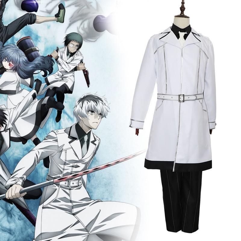 2019 JP anime Tokyo Ghoul: re Cosplay Yonashi Saiko Kaneki Ken Haise Sasaki Costumes White Halloween Party Full Set Outfit
