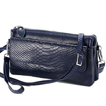 Hot selling! Women Clutch Bag snake pattern Genuine Cow Leather Wallets Fashion Wristlet  Phone Purse shoulder bags 6 colors