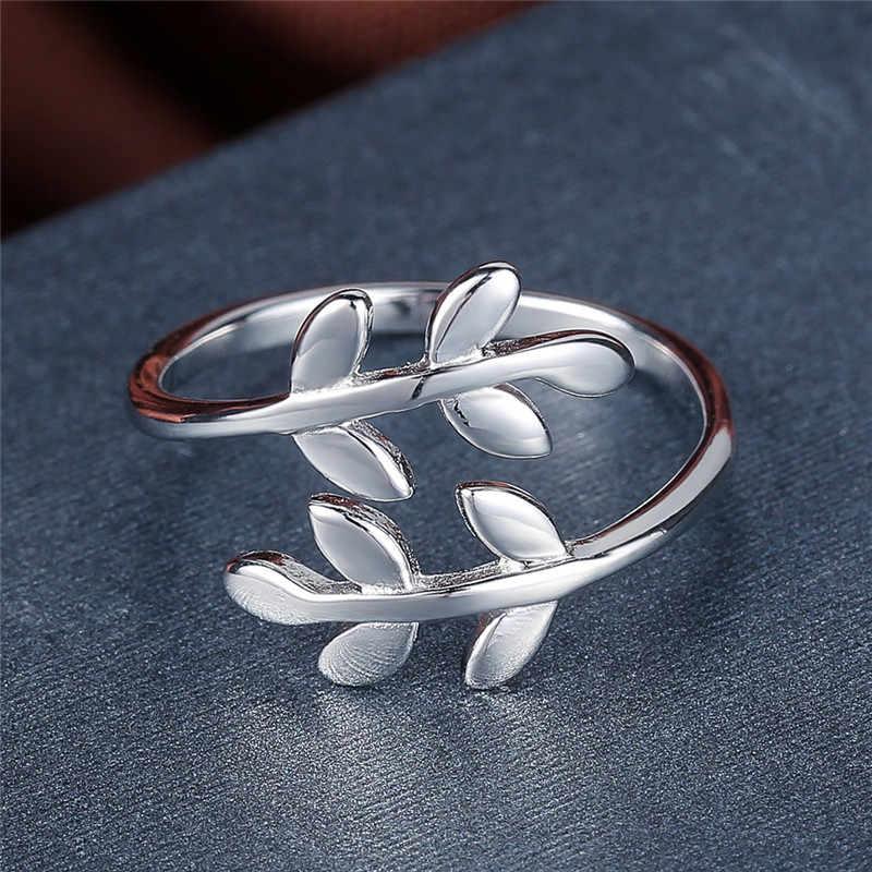 V. YA Elegant แหวนผู้หญิง Vintage 925 เงินสเตอร์ลิงใบเปิดแหวนปรับขนาดแหวนแฟชั่นผู้หญิงเครื่องประดับงานแต่งงาน