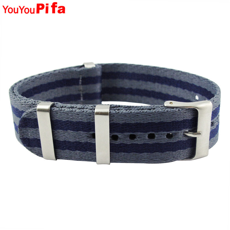 20mm Dark Blue Grey Striped Nylon Watch Strap James Bond 007 Men Watchband Waterproof Military Accessories  Fashion Watch Band