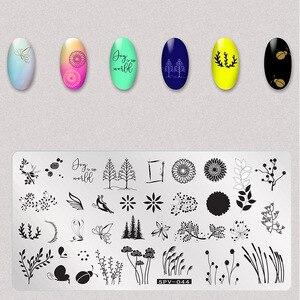 Image 5 - 1 pcs 마른 꽃 네일 스탬프 플레이트 나뭇잎 이미지 사각형 네일 아트 스탬프 플레이트 매니큐어 템플릿 스텐실 도구