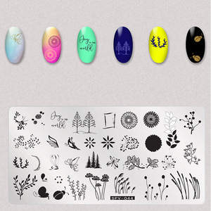 Image 5 - 1Pcs Dry Flowers Nail Stamping Plates Leaves Image Rectangle Nail Art Stamp Plate Manicure Template Stencils Tools
