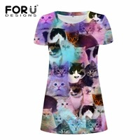 FORUDESIGNS 2017 Summer Dress 3D Denim Animal Printing Women Dress Vestidos Cute Cat Dog Face One