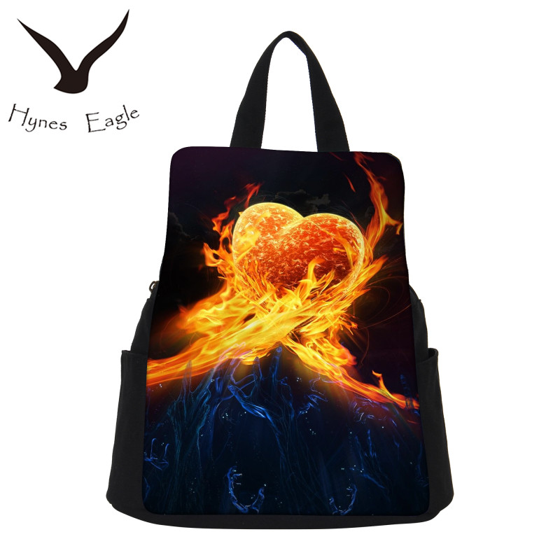 Hynes Eagle Fashion Flame Mark Music Shcool Bag For Women Men Flame Skull Flower Canvas School Laptop Backpack For Student Bags