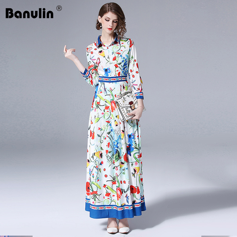 100% Quality Banulin Autumn Runway Designer Vintage Maxi Dresses Women's Long Sleeve Vacation Holiday Floral Printed Shirt Long Dresses